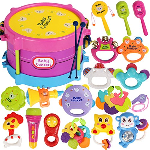 ROWAG 25 Pieces Baby Drum Set for Boy Girl Educational Kids Rattle and Rock Musical Instrument Playset Toys (Sesame Street Clubhouse)