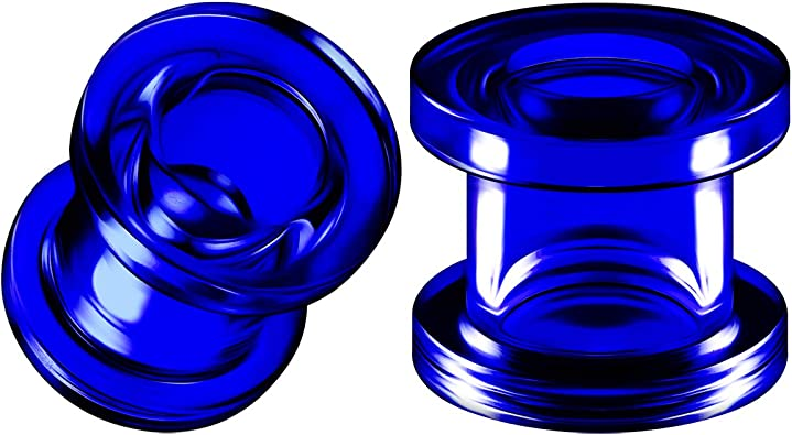 Double Flared Glass Plugs with Blue Two-Tone Swirl Pair of 9//16 inch 14mm