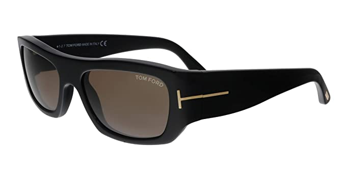 78884946b445c Image Unavailable. Image not available for. Color  Tom Ford FT0593 01J  Rodrigo-02 Black Rectangular Sunglasses ...