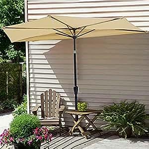 Nueva bloqueo UV de 9ft mitad paraguas al aire libre Patio Bistro Pared Balcón puerta ventana Sun Shade Opt/Beige # 350