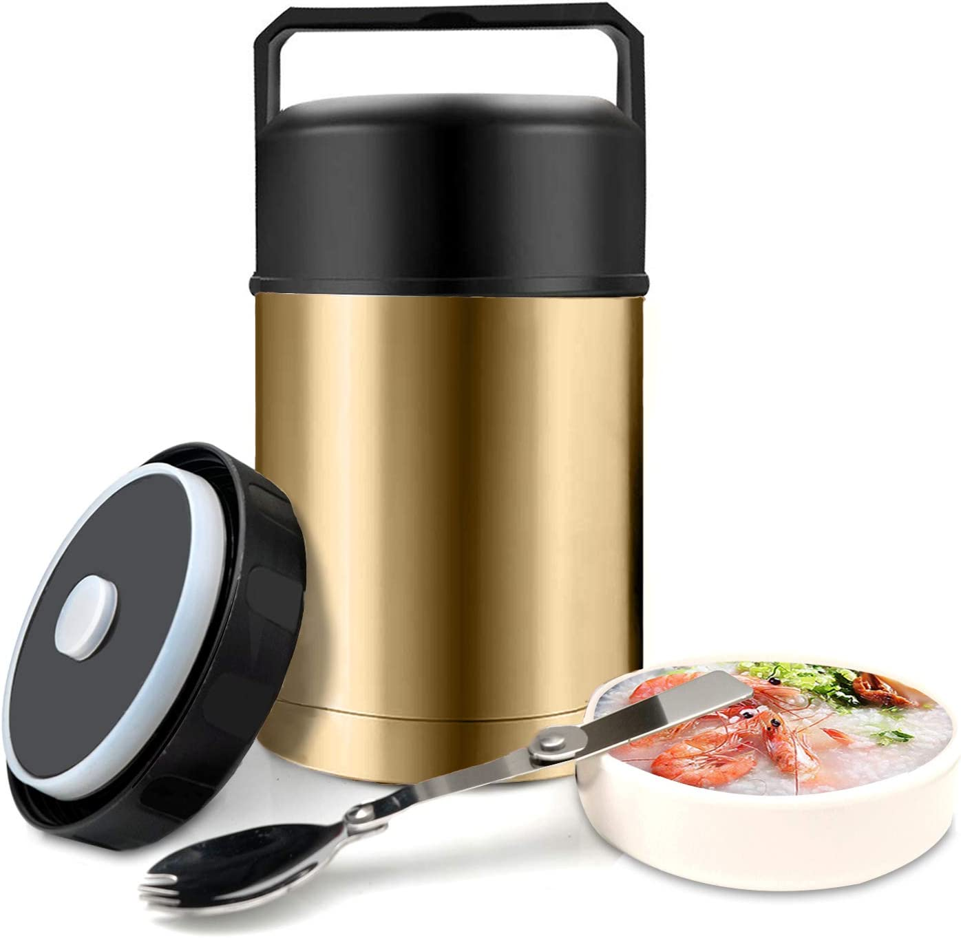 Food Jar Wide Mouth for Hot Food,304 Stainless Steel Leak Proof Double Wall Vacuum Insulated Soup Container with Handle Lid,27 oz BPA Free Thermos Lunch Box (Gold)