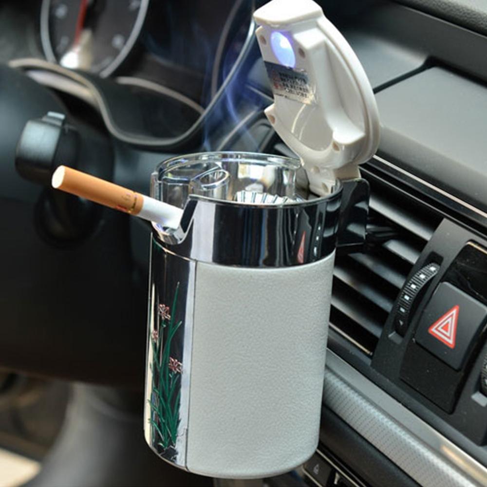 NACHEN Auto Aschenbecher Becher Halter Carbon Faser Auto Aschenbecher mit LED Lichtern