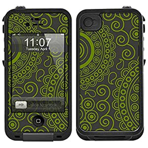 Skin Decal for LifeProof iPhone 4 Case - Paisley Circles Green on Grey