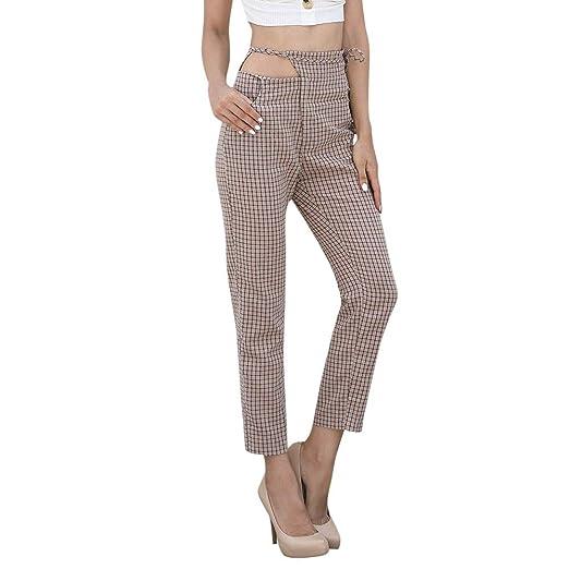 4ac6b7fce45 JOFOW Cargo Pants for Women Plaid Hollow High Waist Side Strappy Tie  Designable Long Straight Leg