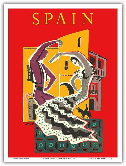Pacifica Island Art España-Flamenco Bailarines-Viajes Mundial del Cartel Bernard Villemot c.1957-Maestro Lámina-9