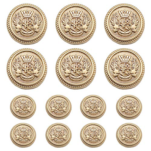 Meillia 14 Pieces Matte Gold Metal Blazer Button Set 15MM 20MM for Blazers, Suits, Sport Coats, Uniform, Jackets (Matte - Buttons Matte