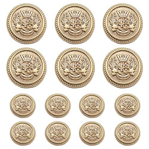 Meillia 14 Pieces Matte Gold Metal Blazer Button Set 15MM 20MM for Blazers, Suits, Sport Coats, Uniform, Jackets (Matte Gold)