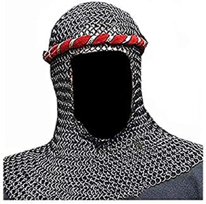 Chain Mail Coif Black Butted Chainmail Hood Medieval Knight Armor Hood Coif