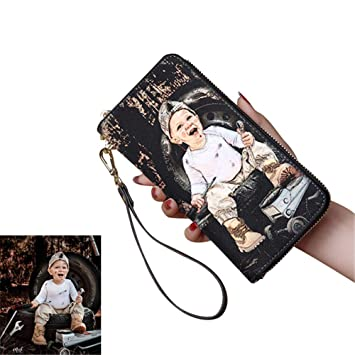 Carteras Personalizadas con Monedero de Piel de Foto para Las Mujeres Monedero de Estilo Personalizado Novia: Amazon.es: Equipaje