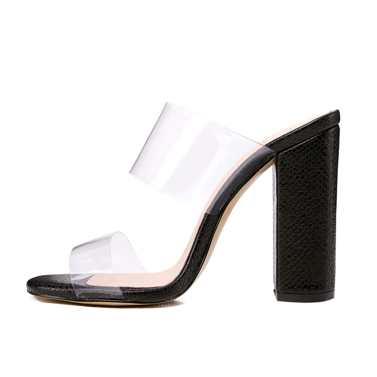473cdd5cc358 Onlymaker Women s Clear Open Toe Double Straps Chunky Heels Mules Snake  Pattern High Heels Slip on Slide Sandals Black 8 M US