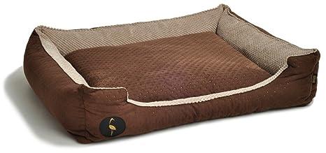 Lauren Diseño Cama para Perros CEZAR 70 cm x 60 cm marrón Acolchada/Beige |
