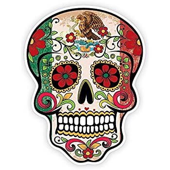 Osmdecals grunge flag detailed mexican sugar skull sticker series 10 day of the dead