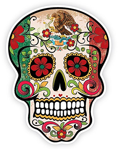 amazon com osmdecals grunge flag detailed mexican sugar skull