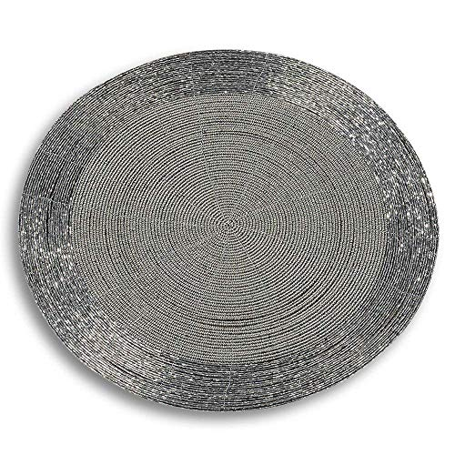 WHW Whole House Worlds Crosby Street Shimmer and Chic Round Silver Filigree Beaded Placemats, Set of 2, Wire, Glass, 13 3/4 Inches