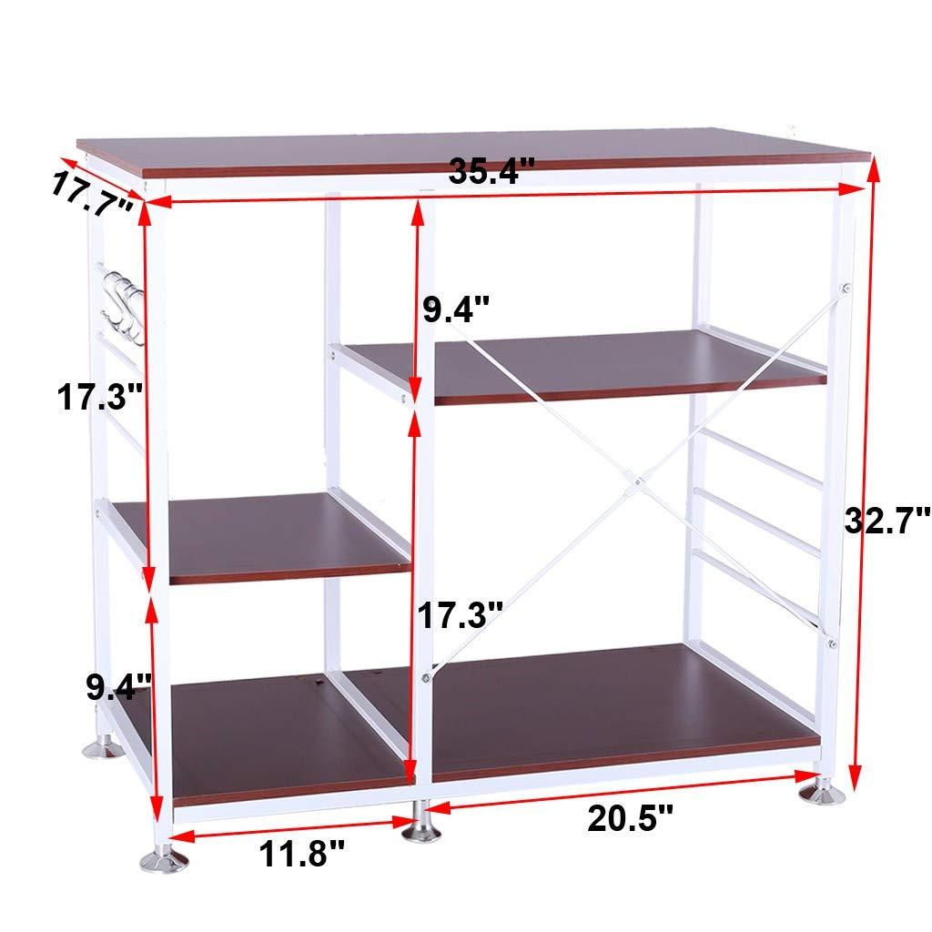 lUKSY US-Direct 3-Tier Multifunctional Kitchen Rack Microwave Stand Oven Floor Shelf Storage Cupboard,Bakers Rack,Spice Rack Organizer Workstation 35.5 x 15.8 x 32.7 in