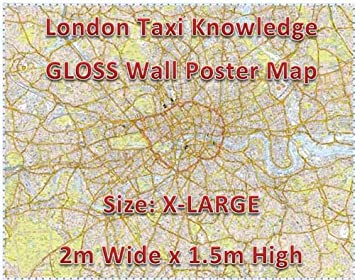 x large london taxi cab knowledge wall map poster of london gloss laminated