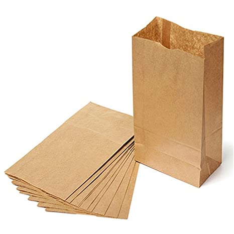 10pcs marrón papel Kraft bolsas de papel partido Pan ...