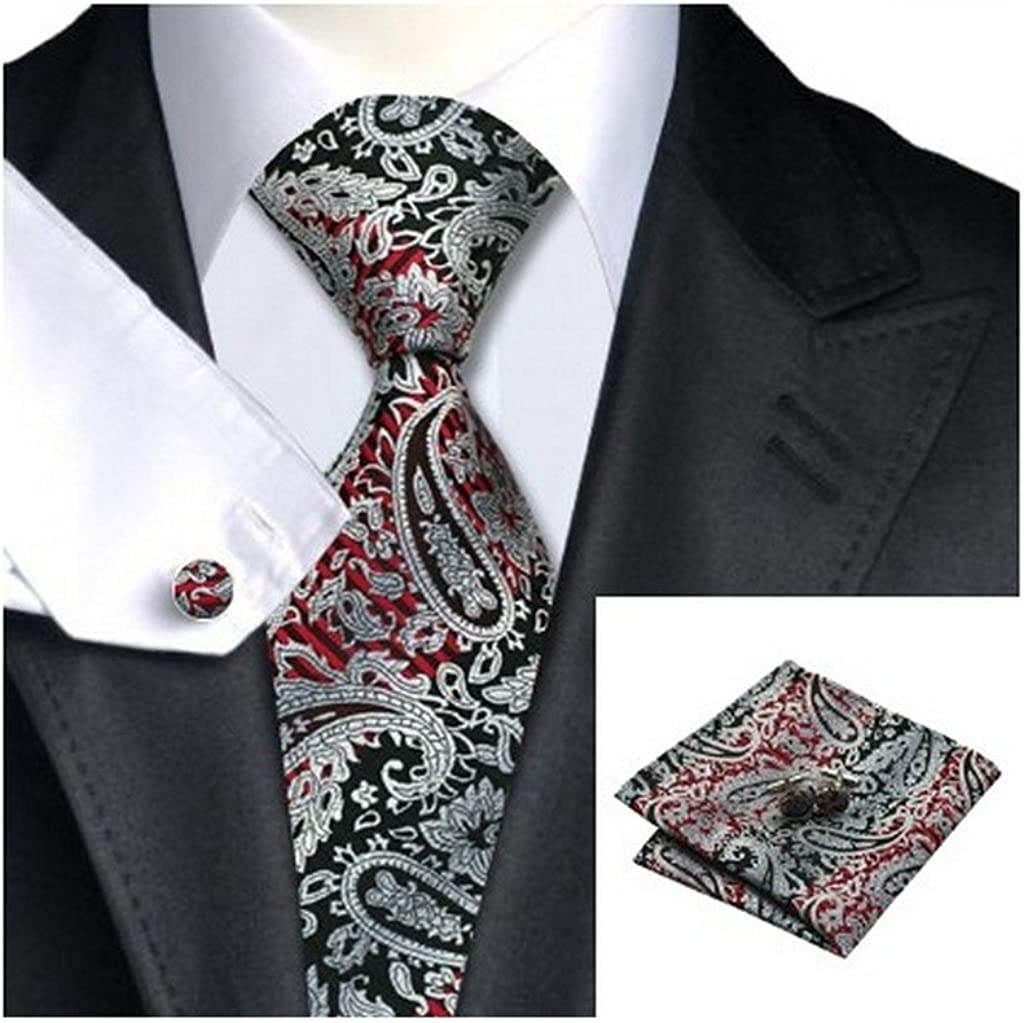Silver Tie Red and Black Paisley Patterned Handmade 100/% Silk Necktie