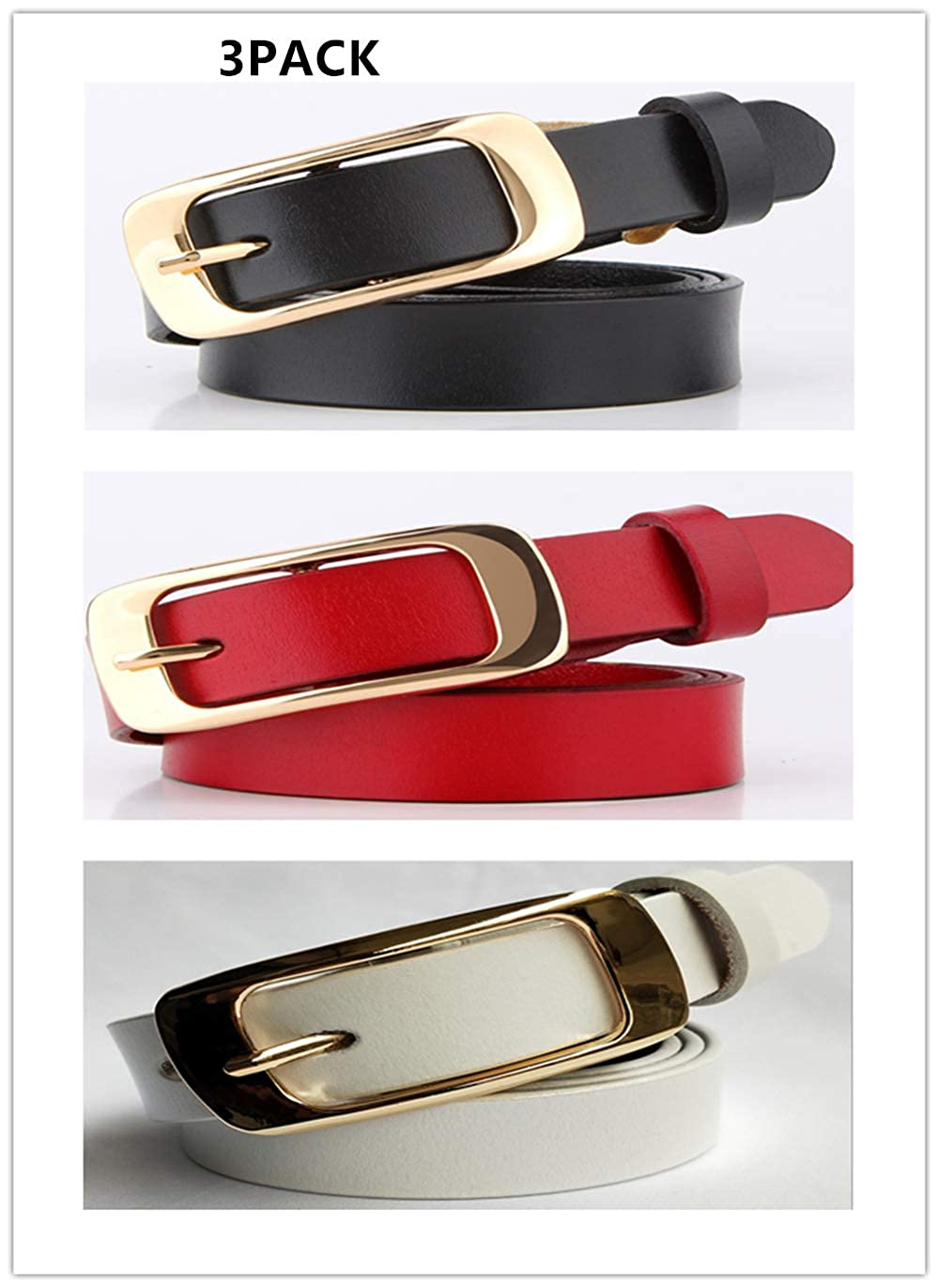 Blackredwhite3pack Women's Hollow Flower Genuine Cowhide Leather Belt With Alloy Buckle