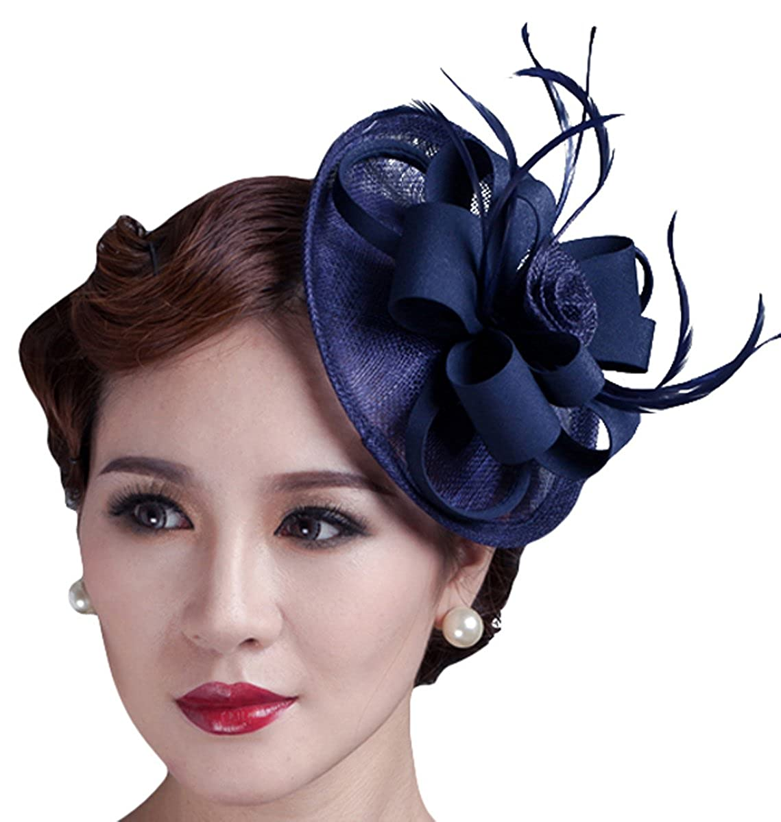 Lady Pillbox Hat Bridal Fascinator Wedding Feather Hair Clip Headwear