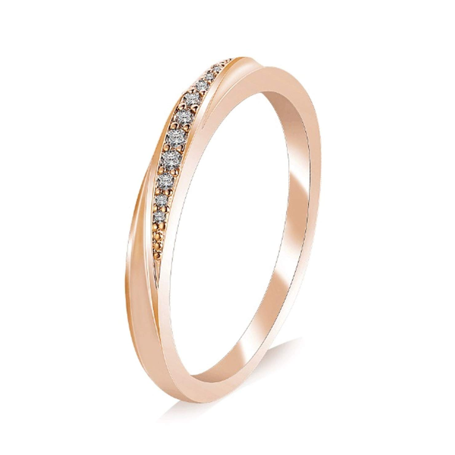 Simple Cubic Zirconia Lovers Rose Gold Color Wedding Ring Jewelry Full Sizes Wholesale H2 8 by FuNi Rings