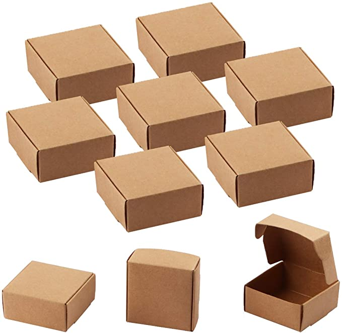 Surrui 20 Packs Rectangle Brown Kraft Boxes Heavy Duty Paper Gift Box with Drawer for Gifts Packaging Socks Jewelry Candle S 9 4cm 6