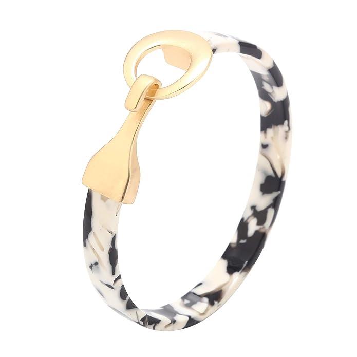 YOSION Tortoise Wide Cuff Bangles for Women Acrylic Resin Open Bangle Bracelets Adjustable Statement Leopard Bracelets for Girls