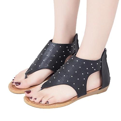 2293fbeec66dc CieKen Women s Sandals Lace up Summer Flats Thong Flip Flop Sandals (Black
