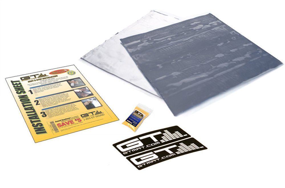 5 sqft GTmat Platinum Onyx (12'' x 12'' Sheets) 70mil Real Butyl Car Truck Audio Sound Deadener Dampening Self-Adhesive Soundproofing Material - Includes: Instructions, Degreaser & Decals
