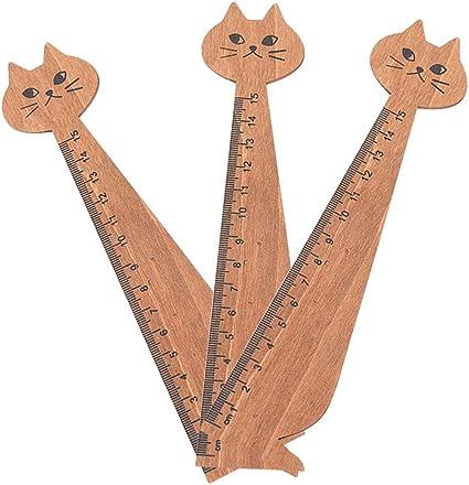 Reglas rectas de madera para gatos de lucha para medir suministros escolares para niños de 15 cm, amarillo/negro, paquete de 12, color amarillo: Amazon.es: Oficina y papelería