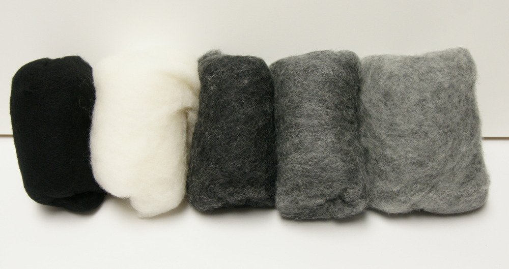 Gray Carded Merino Collection Batting for Needle and Wet Felting 100 Grams