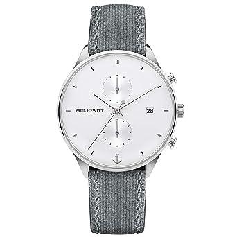 PAUL HEWITT Reloj Cronógrafo para Hombre de Cuarzo con Correa en Tela PH-C-S-W-51M: Amazon.es: Relojes