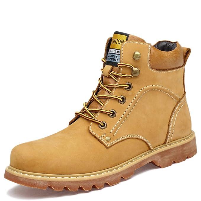 Tallas Grandes Para Hombre Botines De Tobillo Martin Con Cordones Botas Altas De Cuero Botas De Escalada Para Acampar Botas De Combate,Yellow-EU48/UK10.5: ...