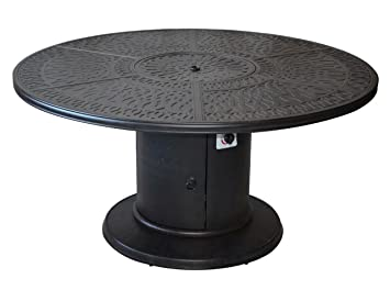 Outdoor Grill Table Propane Fire Pit 60quot Round Dining Cast Aluminmum Patio Furniture