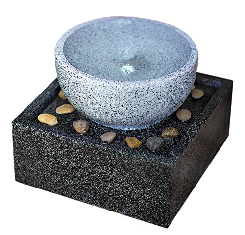 Tenaya Granite Vortex Fountain w/LED Lights: Stylish Whirlpool Water Feature. Hand-crafted Modern Design, Adjustable Pump. HF-V01-14LT by Harmony Fountains