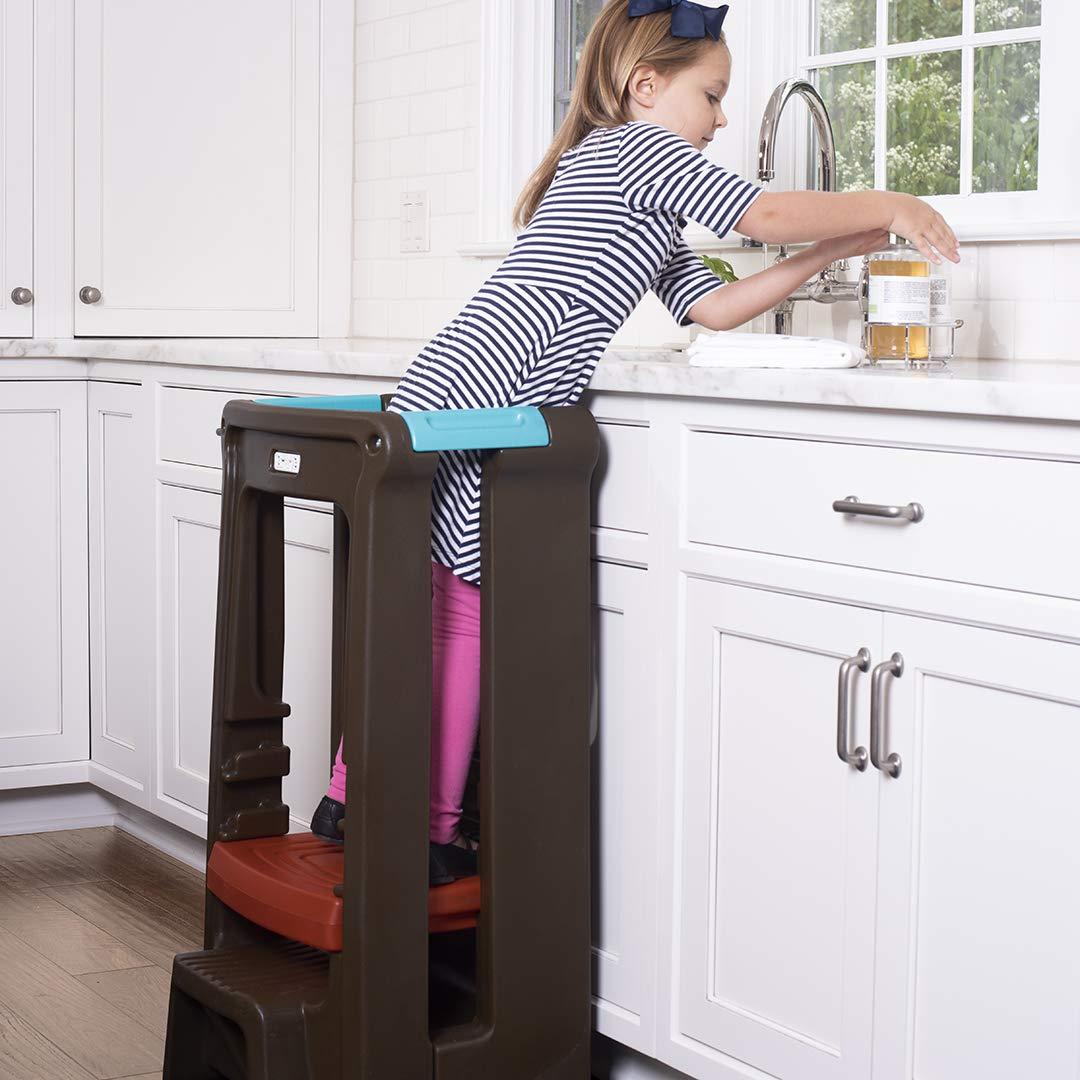 Simplay3 Toddler Tower Childrens Step Stool with Three Adjustable Heights, Gray by Simplay3 (Image #4)