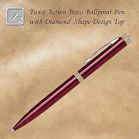 Twist Action Ballpoint Pen With Diamond Accent, Red - Brass Ballpoint Twist Action Pen