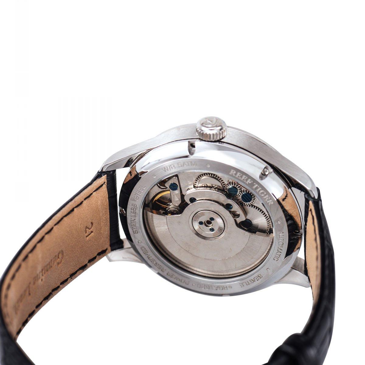 Reef Tiger herrklockor med datum power reservstål fodral autoamtiska klockor läderrem RGA1620 Rga1620-ybs