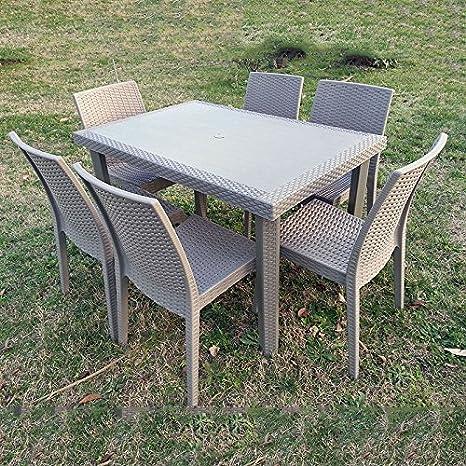 Tavolo Con Sedie Per Giardino.Set Da Giardino Tavolo Con 4 Sedie Aria Tortora Amazon It Giardino