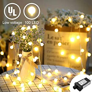YMING LED Globe String Lights-49Feet 100 LED Warm White Plug in String Lights with Timer and 30V UL Low Voltage Transformer Perfect for Indoor and Outdoor Use