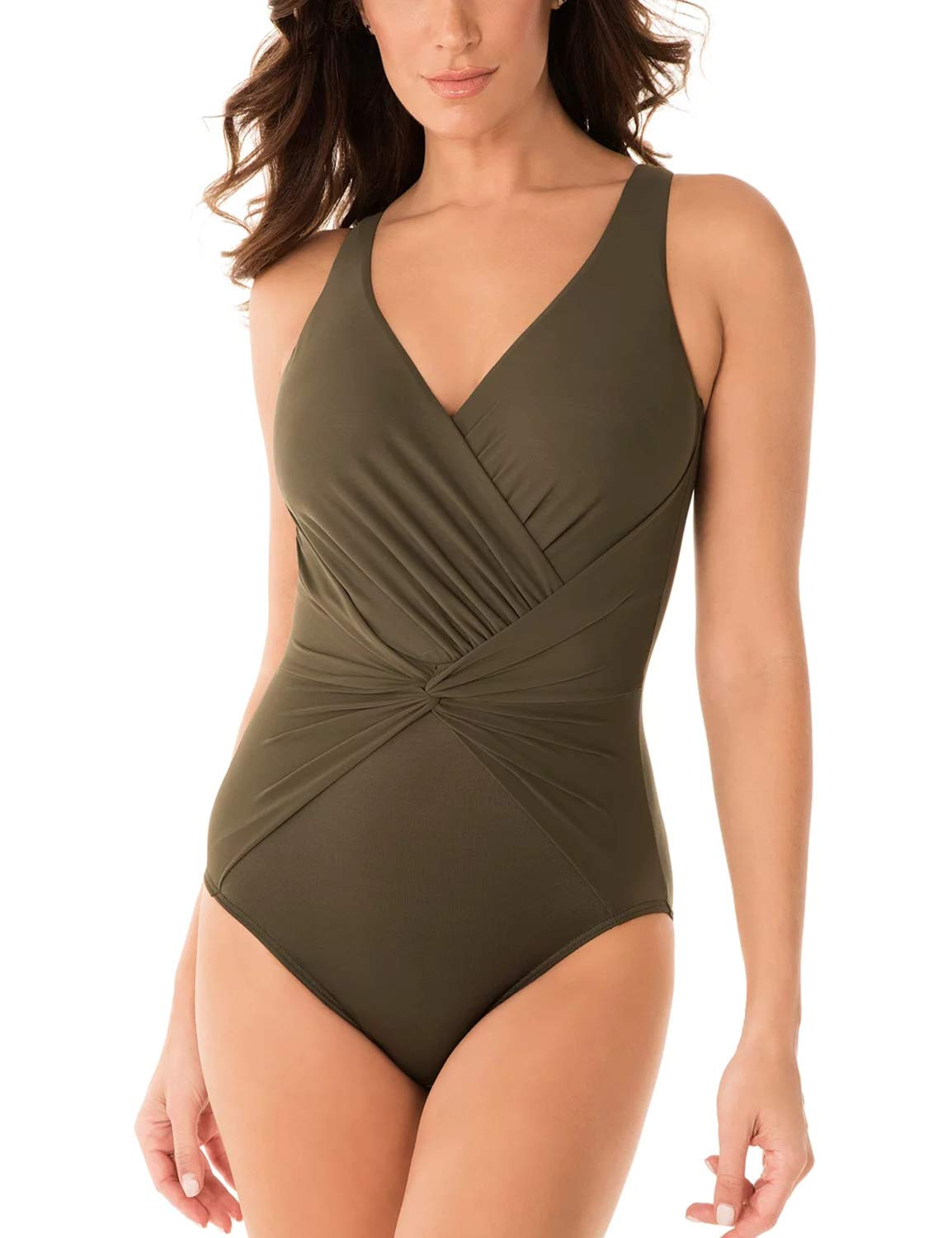 Women's V Neck One Piece Swimsuit Cross Vintage Ruched Swimwear Tummy Control High Cut Bathing Suit Green