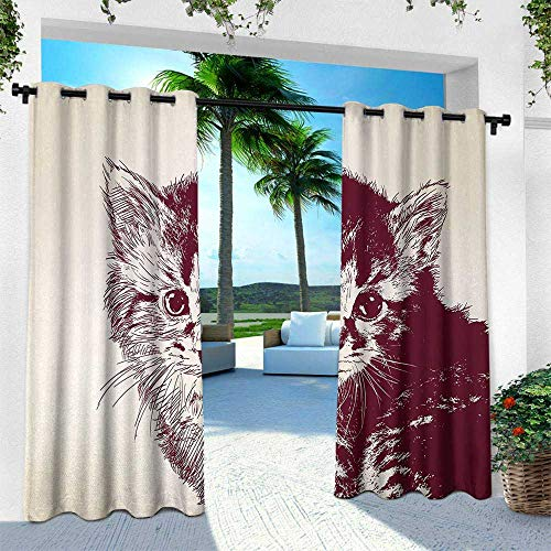 leinuoyi Cat, for Front Porch Covered Patio Gazebo Dock Beach Home, Grunge Style Illustration of a Baby Little Innocent Kitty on a Vintage Background, W84 x L96 Inch, Maroon Cream