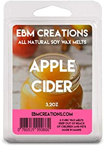 EBM Creations Scented All Natural Soy Wax Melts - 6 Pack Clamshell 3.2oz Highly Scented! (Apple Cider)