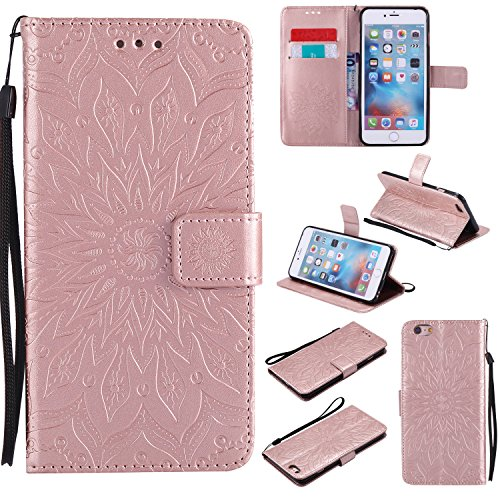 Price comparison product image iPhone 6S Plus Wallet Case, A-slim(TM) Sun Pattern Embossed PU Leather Magnetic Flip Cover Card Holders & Hand Strap Wallet Purse Case for iPhone 6 Plus / 6S Plus [5.5 Inch] - Rose Gold