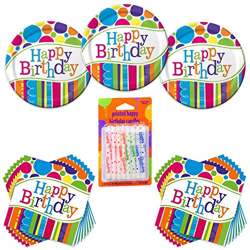 Bright & Bold Happy Birthday Party Bundle - 24 Guest - Dinner Plates, Lunch Napkin & Printed Candles