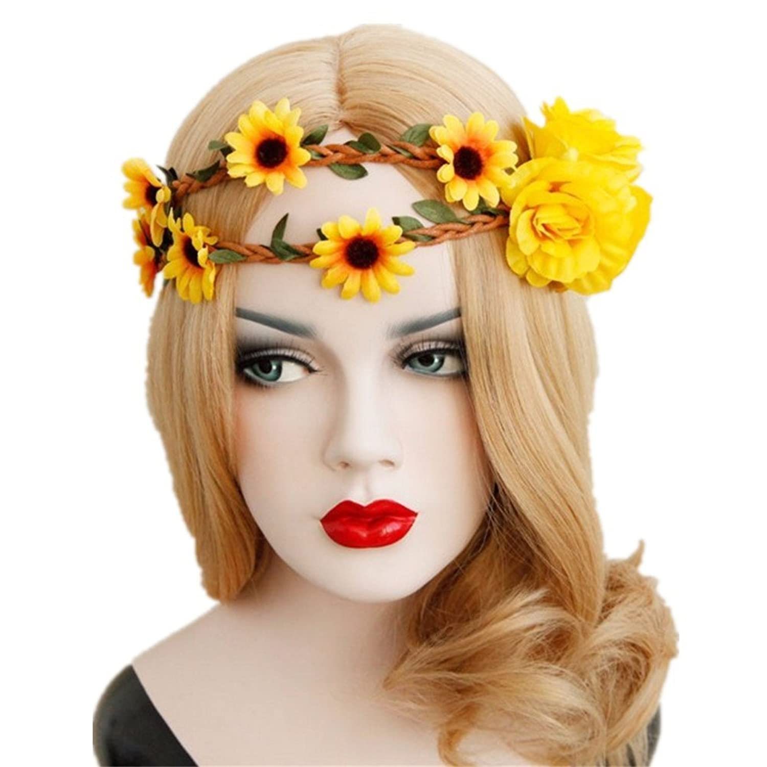 Amazon Lux Accessories Sunflower Floral Flower Yellow Head Hair