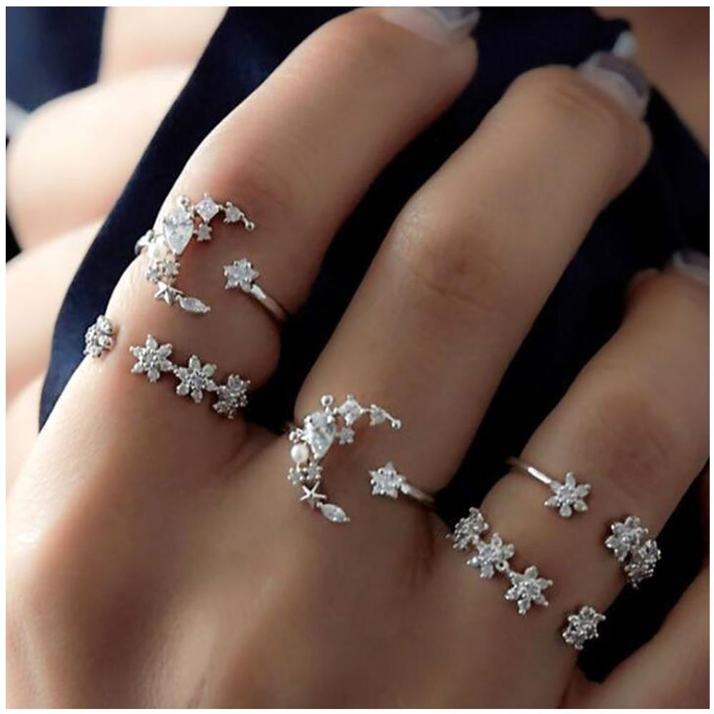 5 Pcs Shining Crystals Moon Stars Charms Ring Silver Opening Flower Ring Set for Girls Jewelry Gift MISSU JEWELLRY