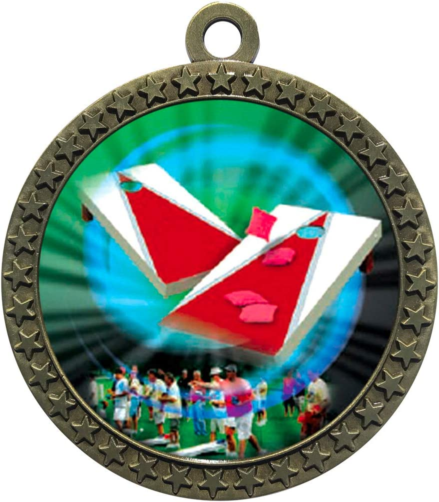 Pack of 10 Express Medals Large 2-1//2 inch Metal Antique Gold Bag Toss Cornhole Star Award Trophy Champion Winner with Red White and Blue Neck Ribbons FCL469
