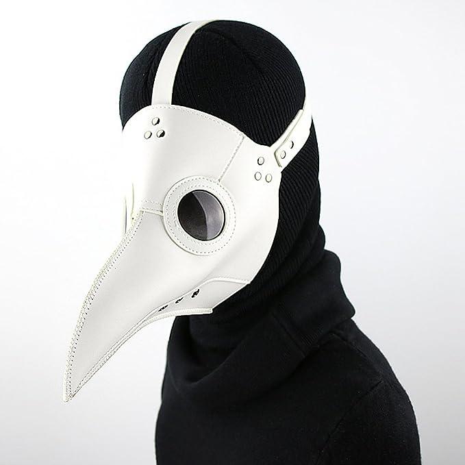 Sharplace Máscara de PU Cuero Color Blanco Médico de la Peste Negra: Amazon.es: Juguetes y juegos