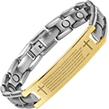 Willis Judd Mens Lord Prayer In English Titanium Magnetic Bracelet In Gift Box + Free Link Removal Tool